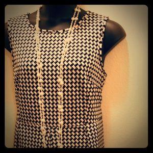 Calvin Klein 18W Black and Cream Houndstooth Dress